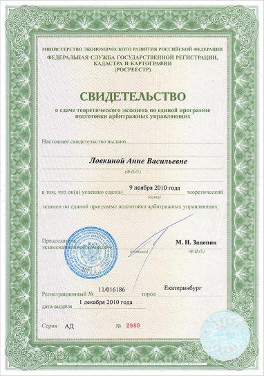 Свидетельство о сдаче экзамена по программе подготовки арбитражных управляющих | Ловкина Анна Васильевна