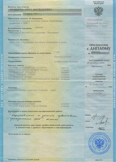 Приложение к диплому «Юриспруденция» | Ловкина Анна Васильевна