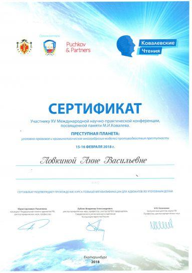 Сертификат участника XV Международной научно-практической конференции, посвященной памяти М.И. Ковалева